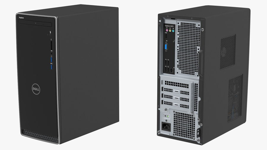 Dell Inspiron 3670 Minitower-Desktop-PC royalty-free 3d model - Preview no. 12