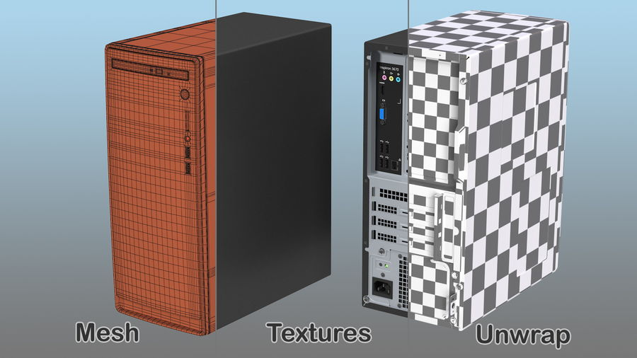 Dell Inspiron 3670 Minitower-Desktop-PC royalty-free 3d model - Preview no. 16