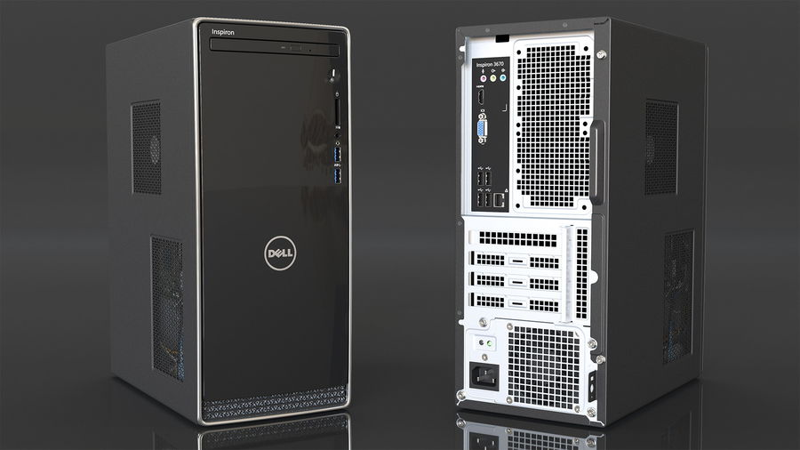Dell Inspiron 3670 Minitower-Desktop-PC royalty-free 3d model - Preview no. 7