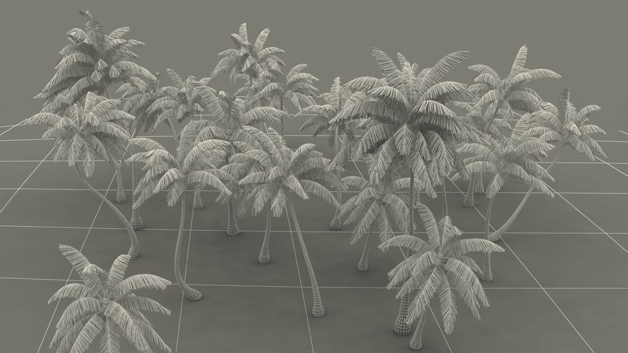 Tropical Island with Palm Trees royalty-free 3d model - Preview no. 20
