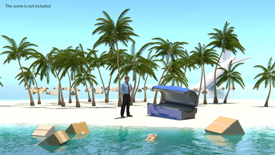 Tropical Island with Palm Trees royalty-free 3d model - Preview no. 3