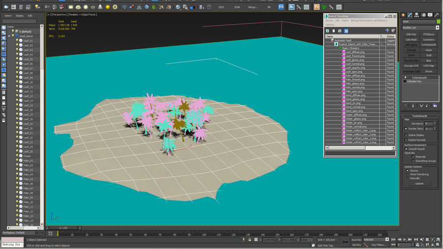 Tropical Island with Palm Trees royalty-free 3d model - Preview no. 17