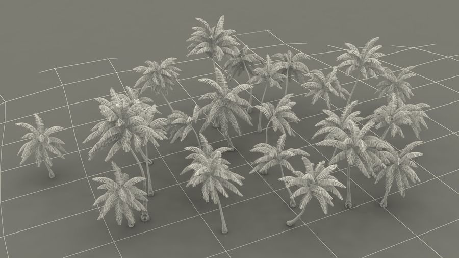 Tropical Island with Palm Trees royalty-free 3d model - Preview no. 19