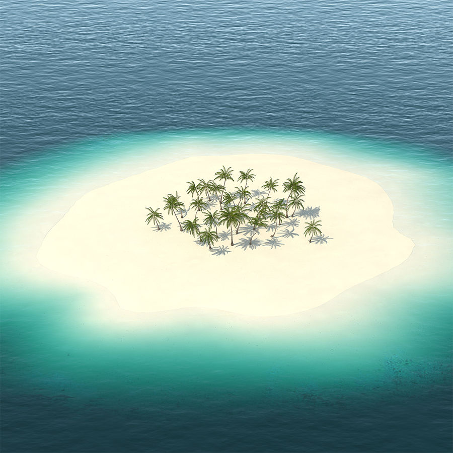 Tropical Island with Palm Trees royalty-free 3d model - Preview no. 1