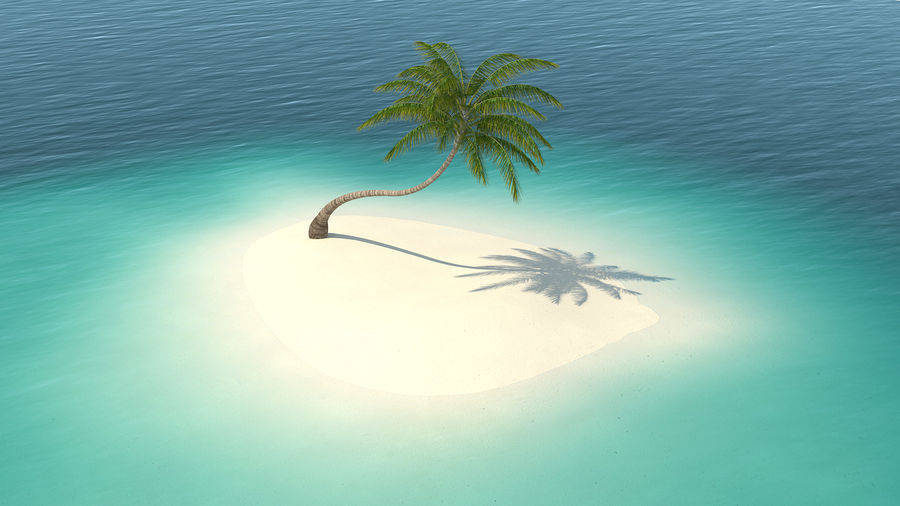 Desert Tropical Island with Palm Tree royalty-free 3d model - Preview no. 2