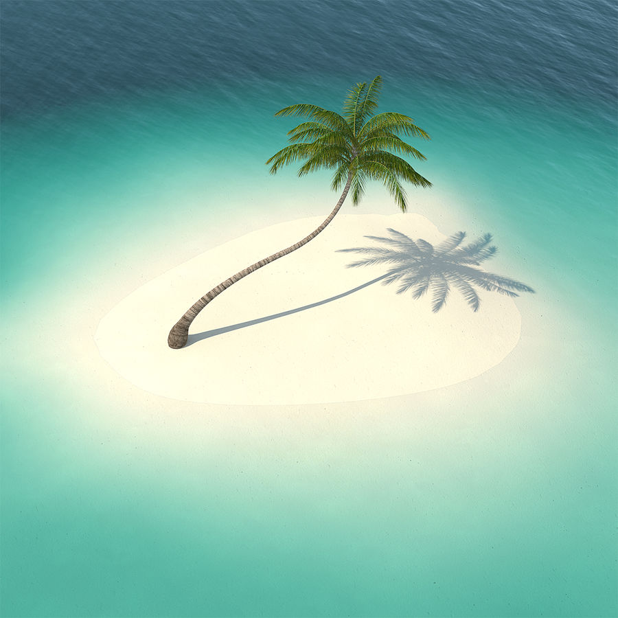 Desert Tropical Island with Palm Tree royalty-free 3d model - Preview no. 1