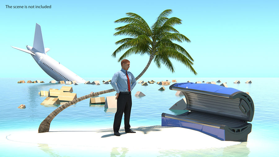 Desert Tropical Island with Palm Tree royalty-free 3d model - Preview no. 3