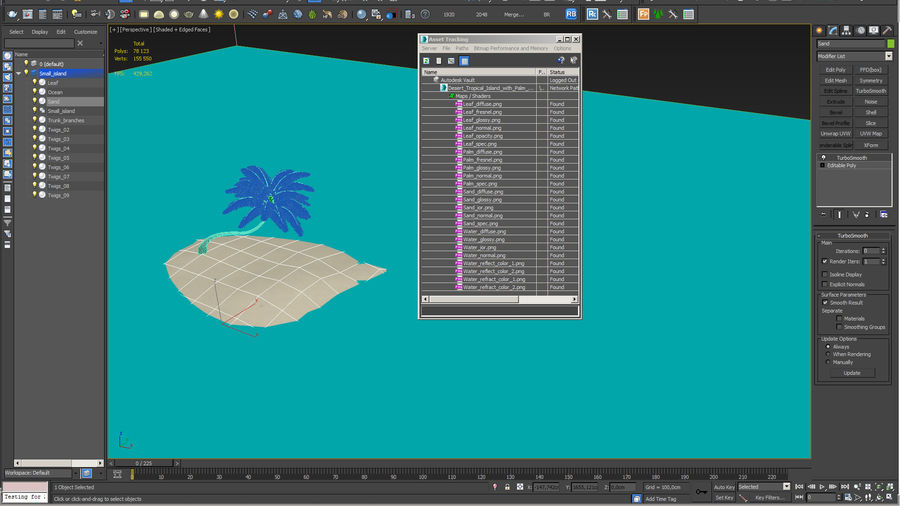 Desert Tropical Island with Palm Tree royalty-free 3d model - Preview no. 17
