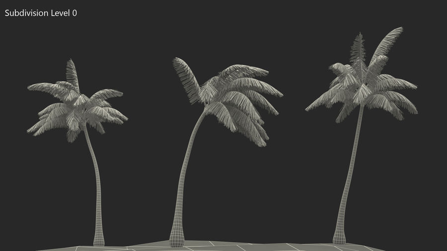 Small Island in Ocean with Palms royalty-free 3d model - Preview no. 10