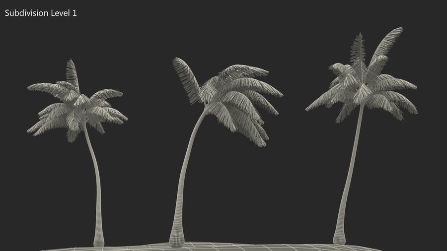 Small Island in Ocean with Palms royalty-free 3d model - Preview no. 11