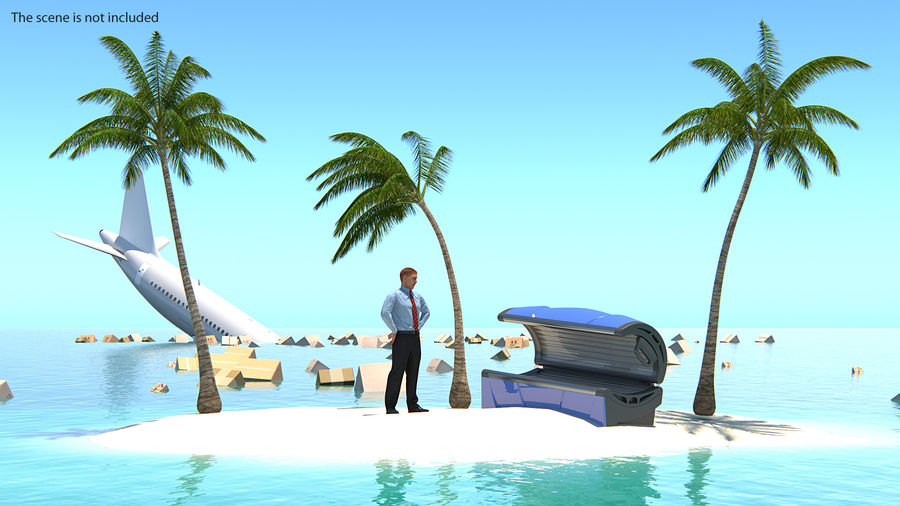 Small Island in Ocean with Palms royalty-free 3d model - Preview no. 4