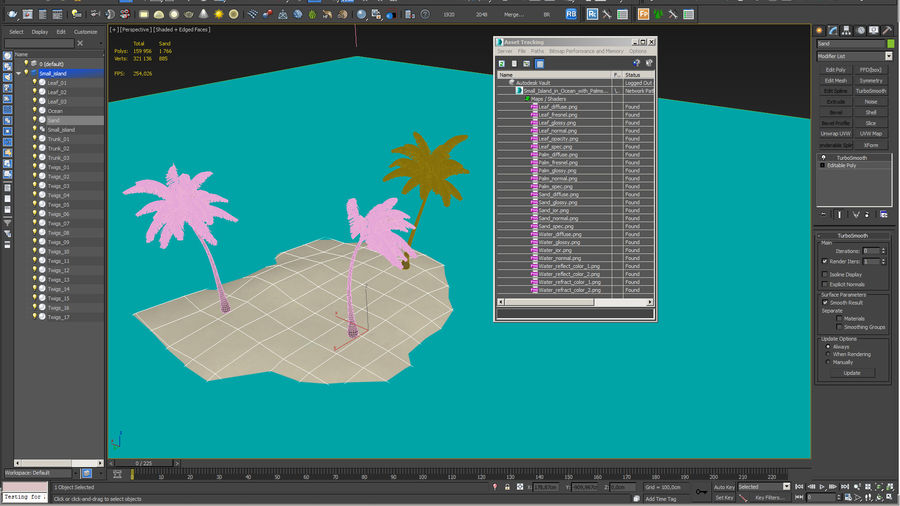 Small Island in Ocean with Palms royalty-free 3d model - Preview no. 16