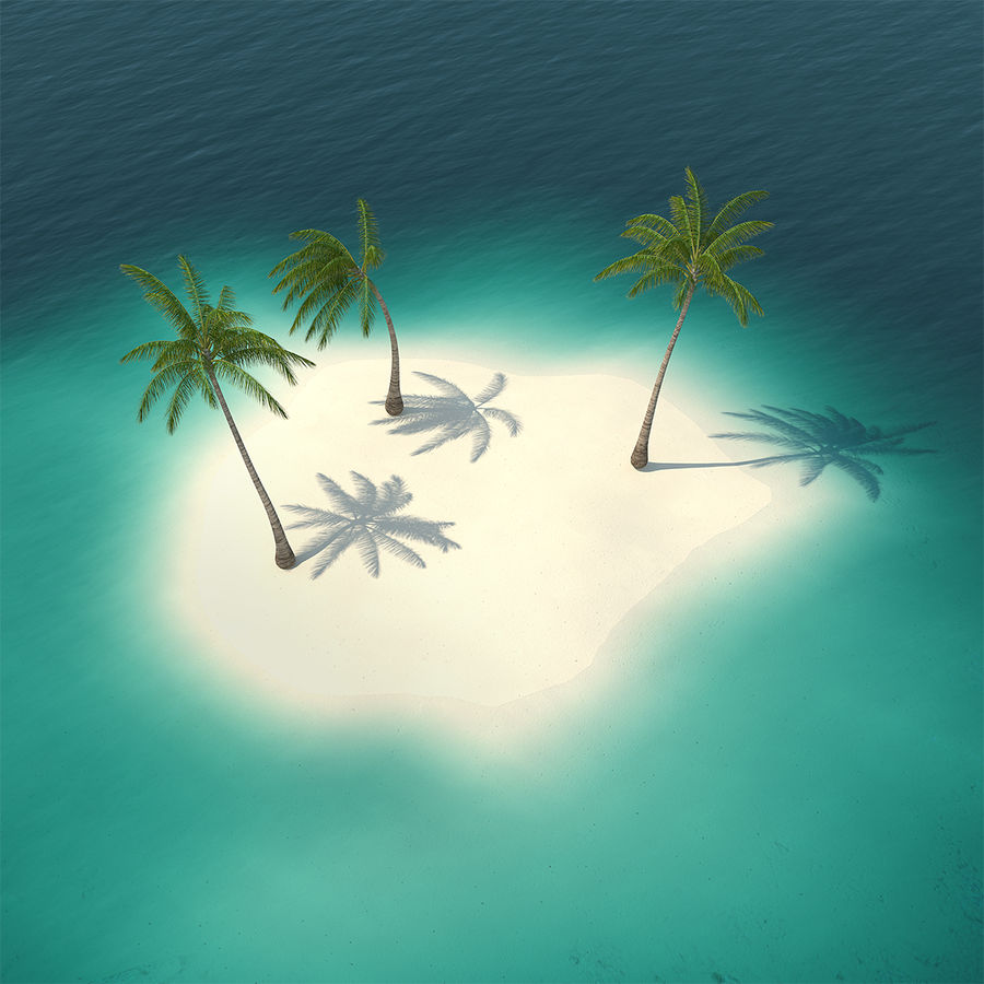 Small Island in Ocean with Palms royalty-free 3d model - Preview no. 1