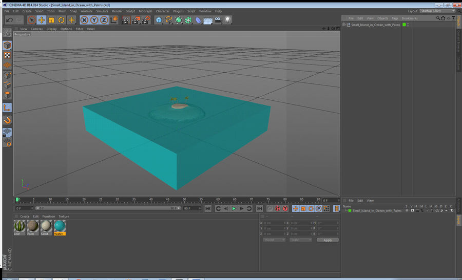Small Island in Ocean with Palms royalty-free 3d model - Preview no. 15