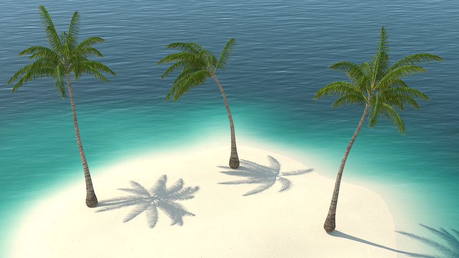 Small Island in Ocean with Palms royalty-free 3d model - Preview no. 6