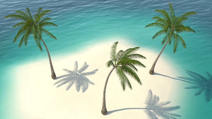 Small Island in Ocean with Palms royalty-free 3d model - Preview no. 2