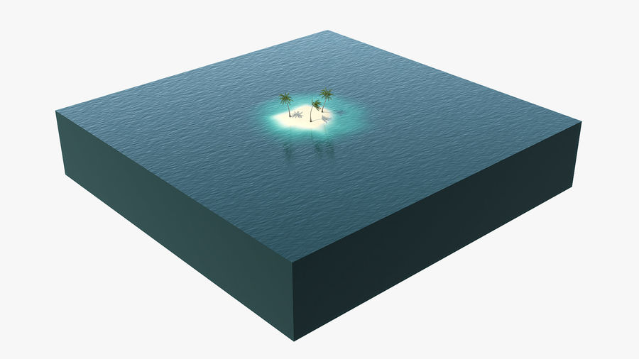Small Island in Ocean with Palms royalty-free 3d model - Preview no. 3