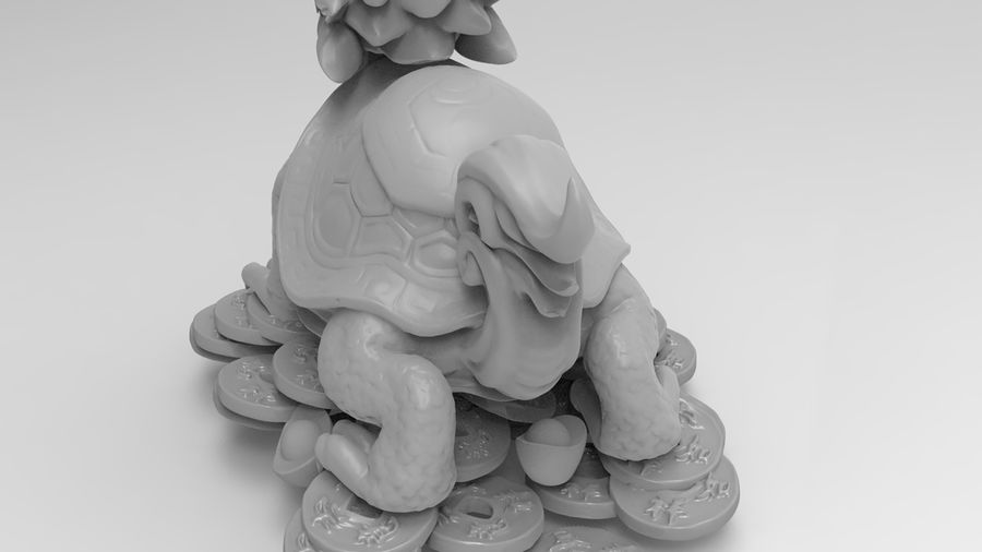 Turtle Dragon royalty-free 3d model - Preview no. 16