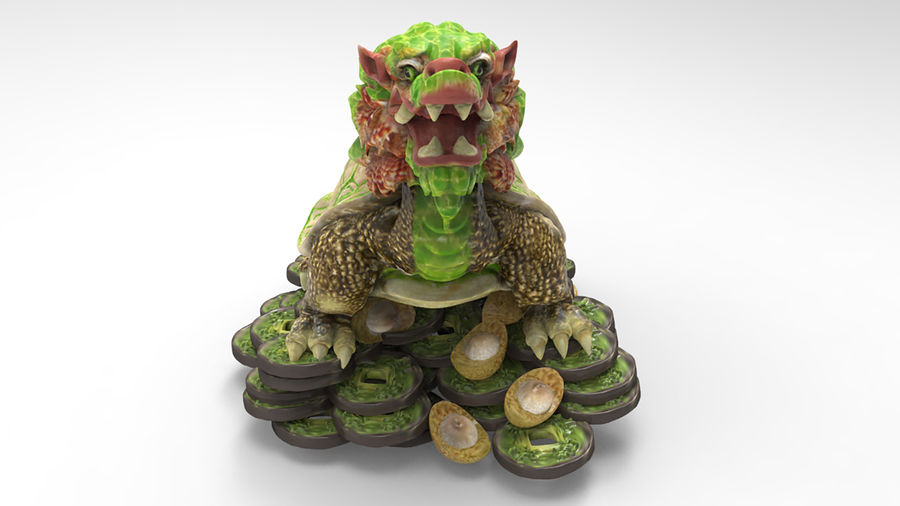 Turtle Dragon royalty-free 3d model - Preview no. 9