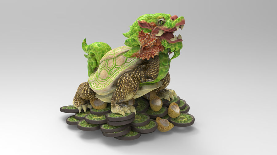 Turtle Dragon royalty-free 3d model - Preview no. 2