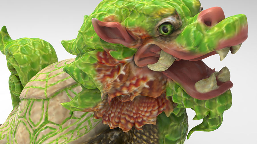 Turtle Dragon royalty-free 3d model - Preview no. 11