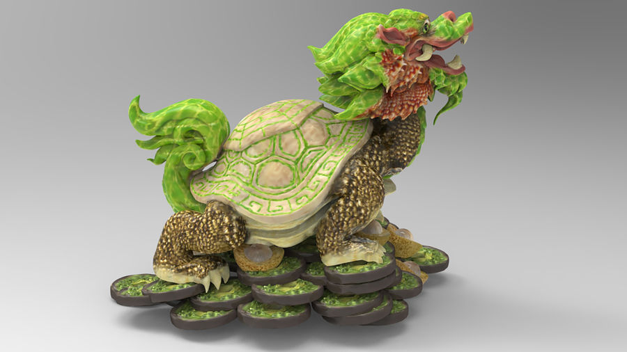 Turtle Dragon royalty-free 3d model - Preview no. 7