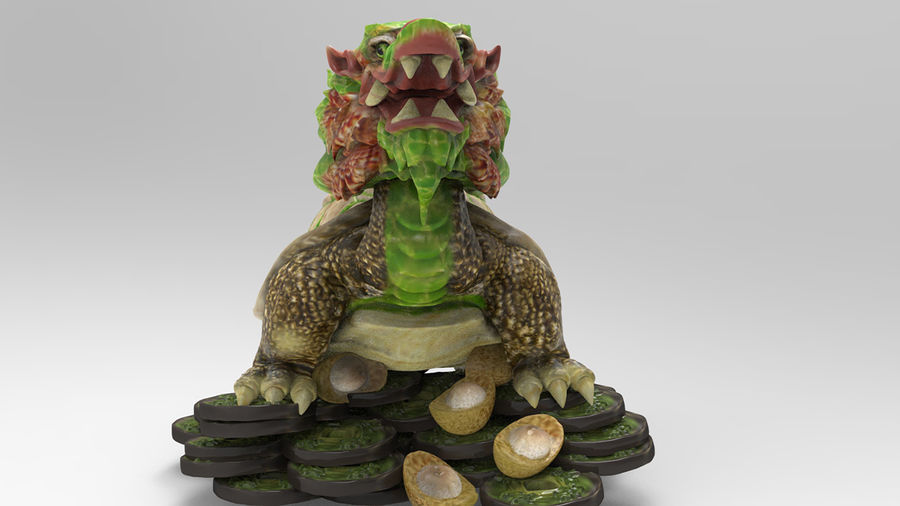 Turtle Dragon royalty-free 3d model - Preview no. 12