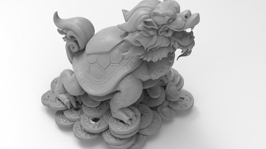 Turtle Dragon royalty-free 3d model - Preview no. 15