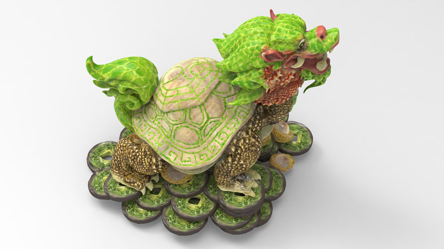 Turtle Dragon royalty-free 3d model - Preview no. 3