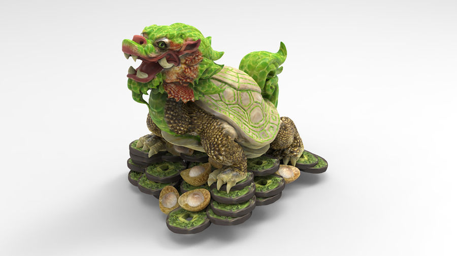Turtle Dragon royalty-free 3d model - Preview no. 4