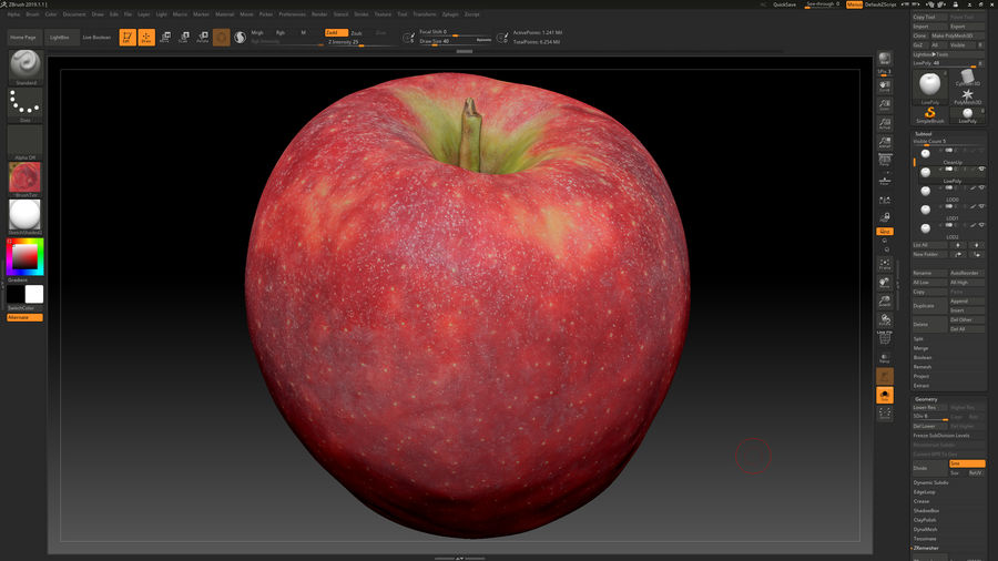 Scanned Apple 01 royalty-free 3d model - Preview no. 4
