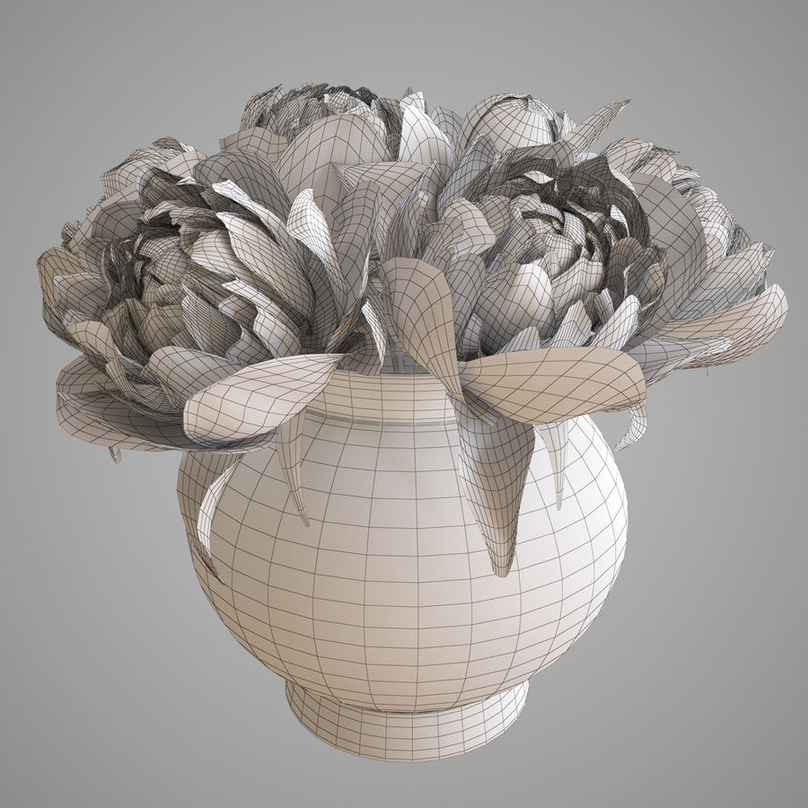 Flowers Peonies 3D model royalty-free 3d model - Preview no. 6