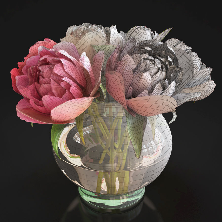Flowers Peonies 3D model royalty-free 3d model - Preview no. 4