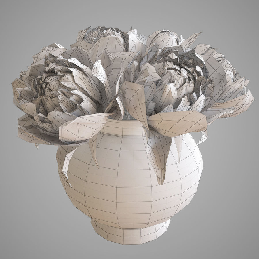 Flowers Peonies 3D model royalty-free 3d model - Preview no. 5