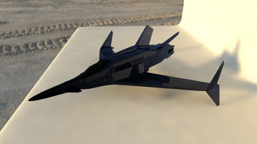 Stealth Fighter Jet royalty-free 3d model - Preview no. 4