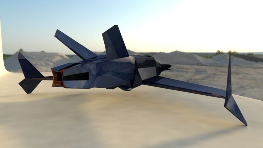 Stealth Fighter Jet royalty-free 3d model - Preview no. 5