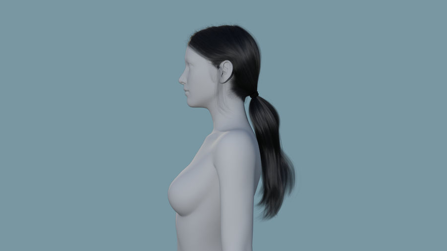 Realistic Female Polygon Long Hair 35 royalty-free 3d model - Preview no. 3