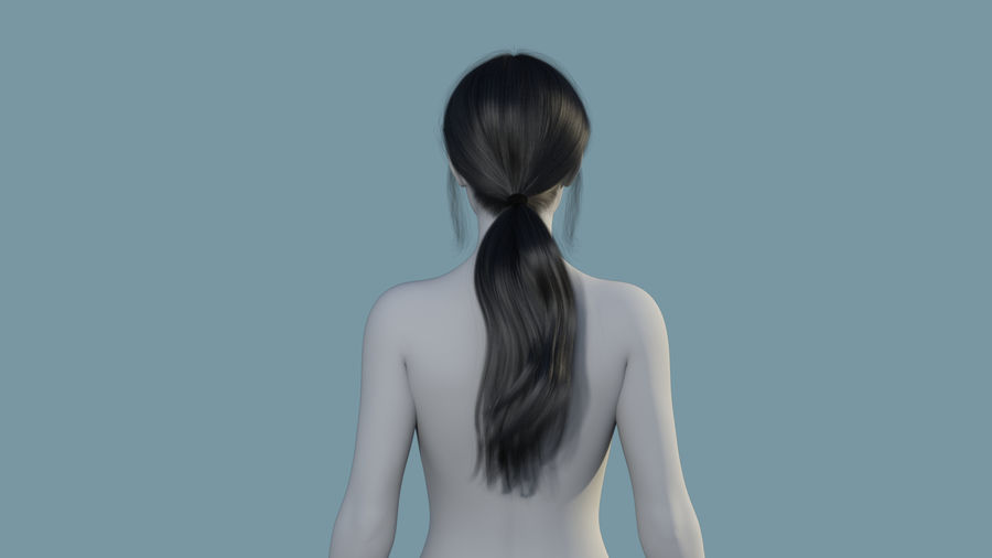 Realistic Female Polygon Long Hair 35 royalty-free 3d model - Preview no. 4
