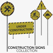 Construction Signs Collection 3d model