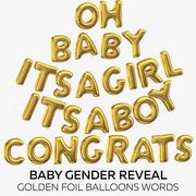 Bébé révèle le sexe - mots de ballons dorés 3d model