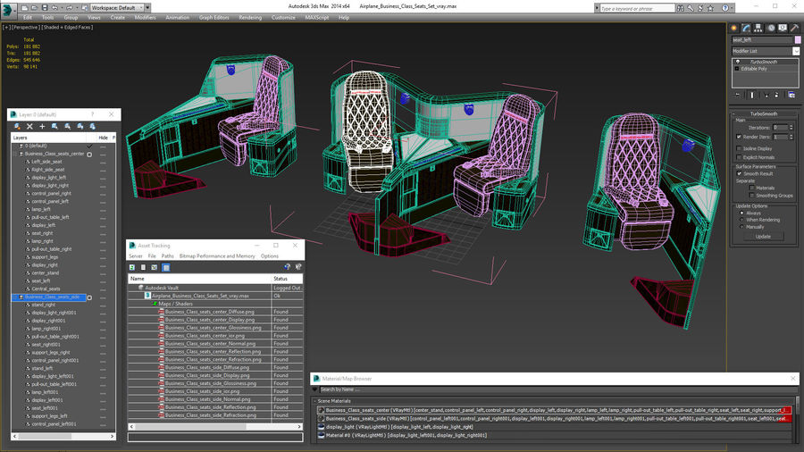 Airplane Business Class Seats Set royalty-free 3d model - Preview no. 35