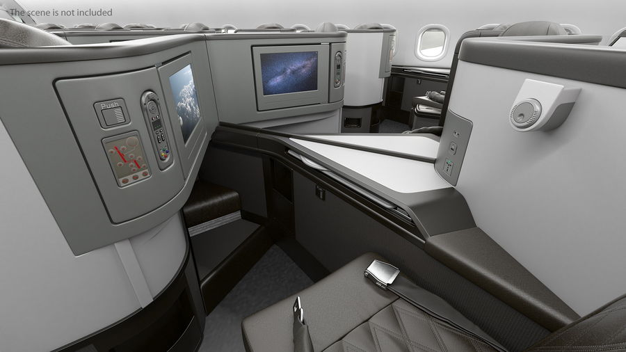 Airplane Business Class Seats Set royalty-free 3d model - Preview no. 14