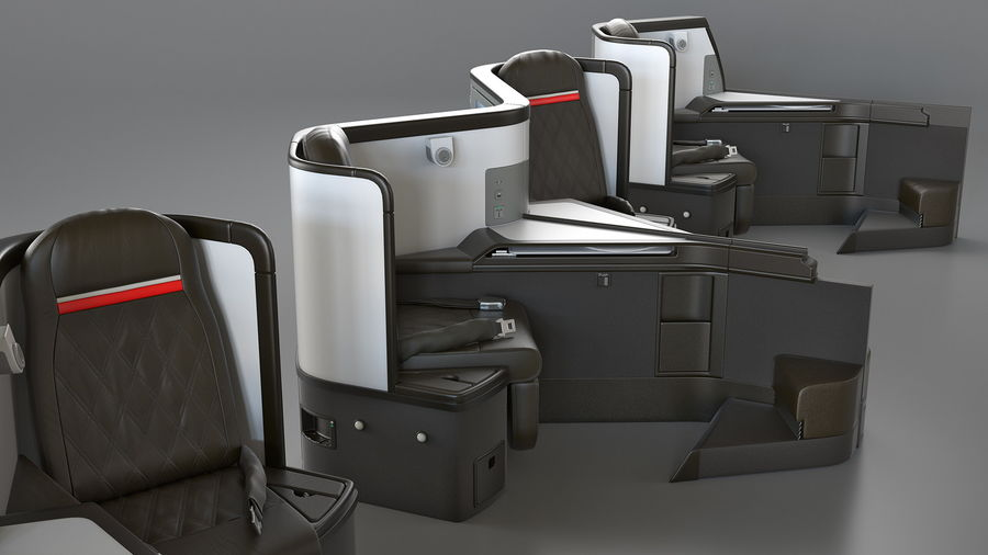 Airplane Business Class Seats Set royalty-free 3d model - Preview no. 22