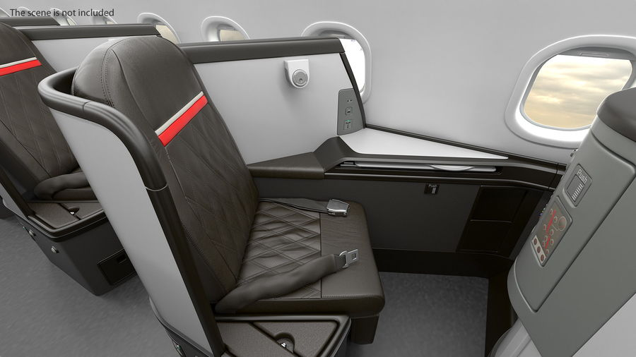 Airplane Business Class Seats Set royalty-free 3d model - Preview no. 10