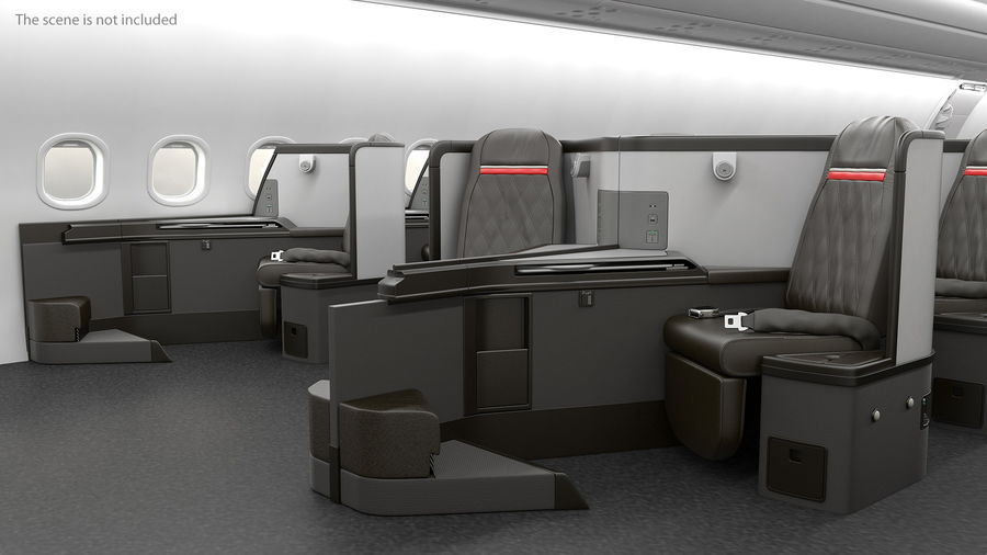 Airplane Business Class Seats Set royalty-free 3d model - Preview no. 4