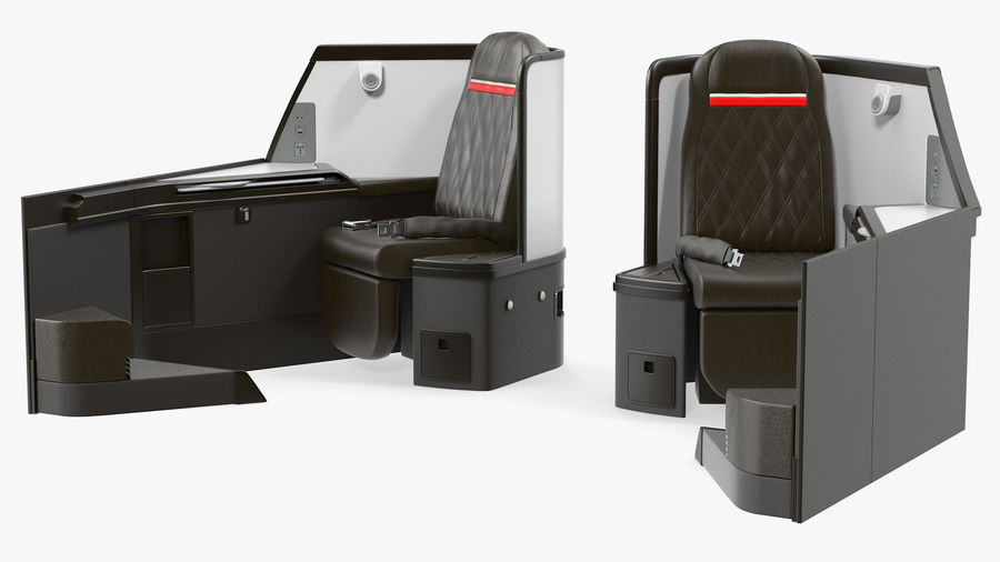 Airplane Business Class Seats Set royalty-free 3d model - Preview no. 25