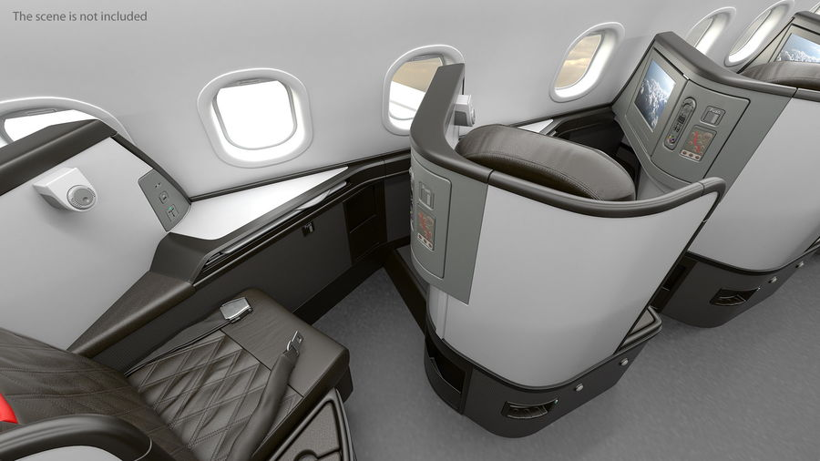 Airplane Business Class Seats Set royalty-free 3d model - Preview no. 11