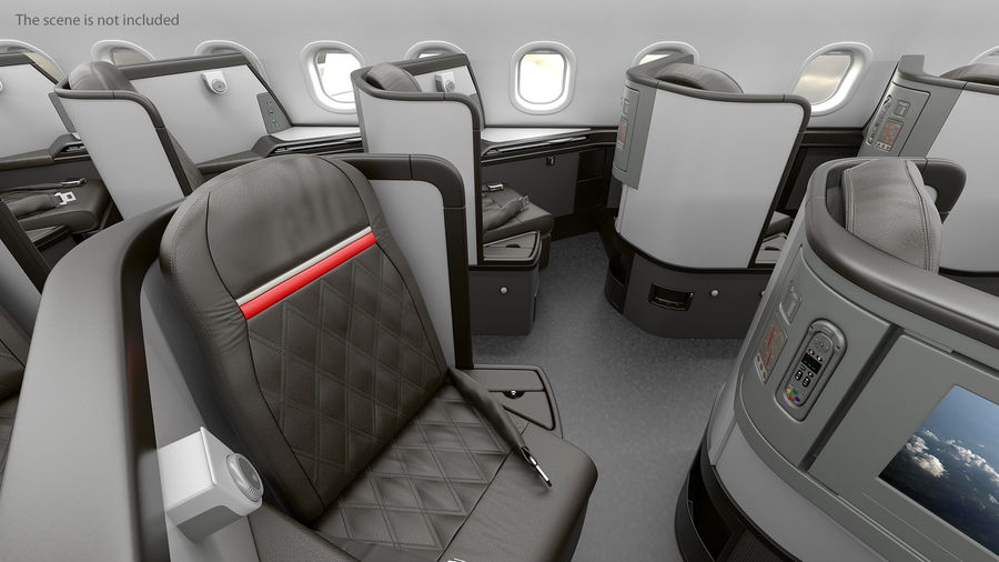 Airplane Business Class Seats Set royalty-free 3d model - Preview no. 12