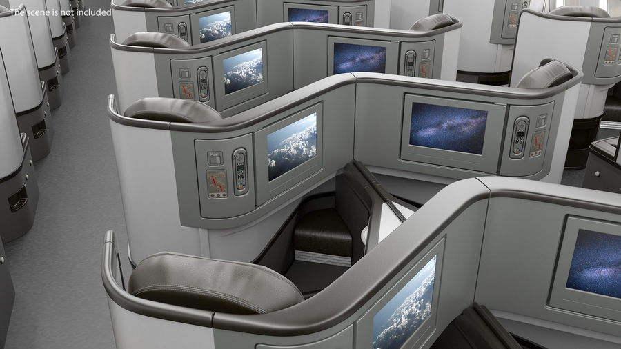 Airplane Business Class Seats Set royalty-free 3d model - Preview no. 5