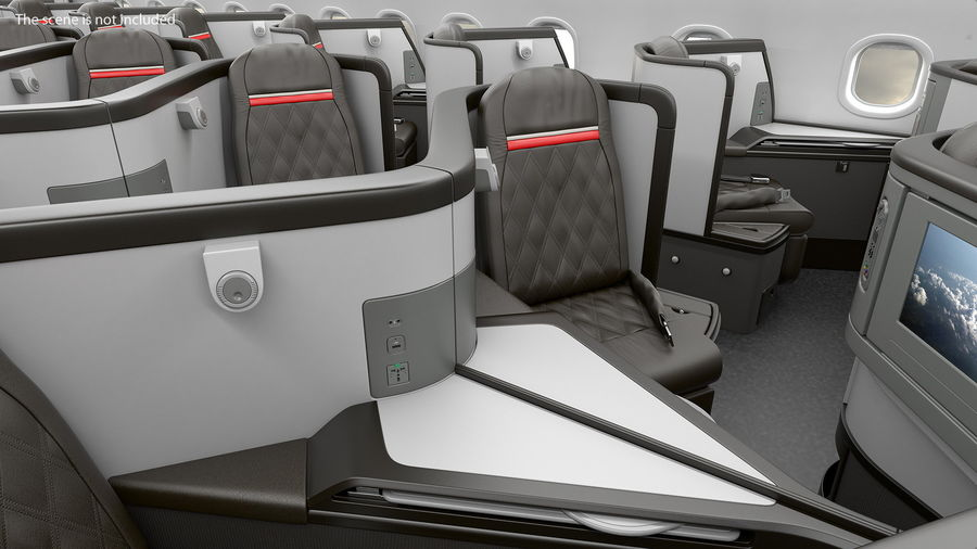 Airplane Business Class Seats Set royalty-free 3d model - Preview no. 9